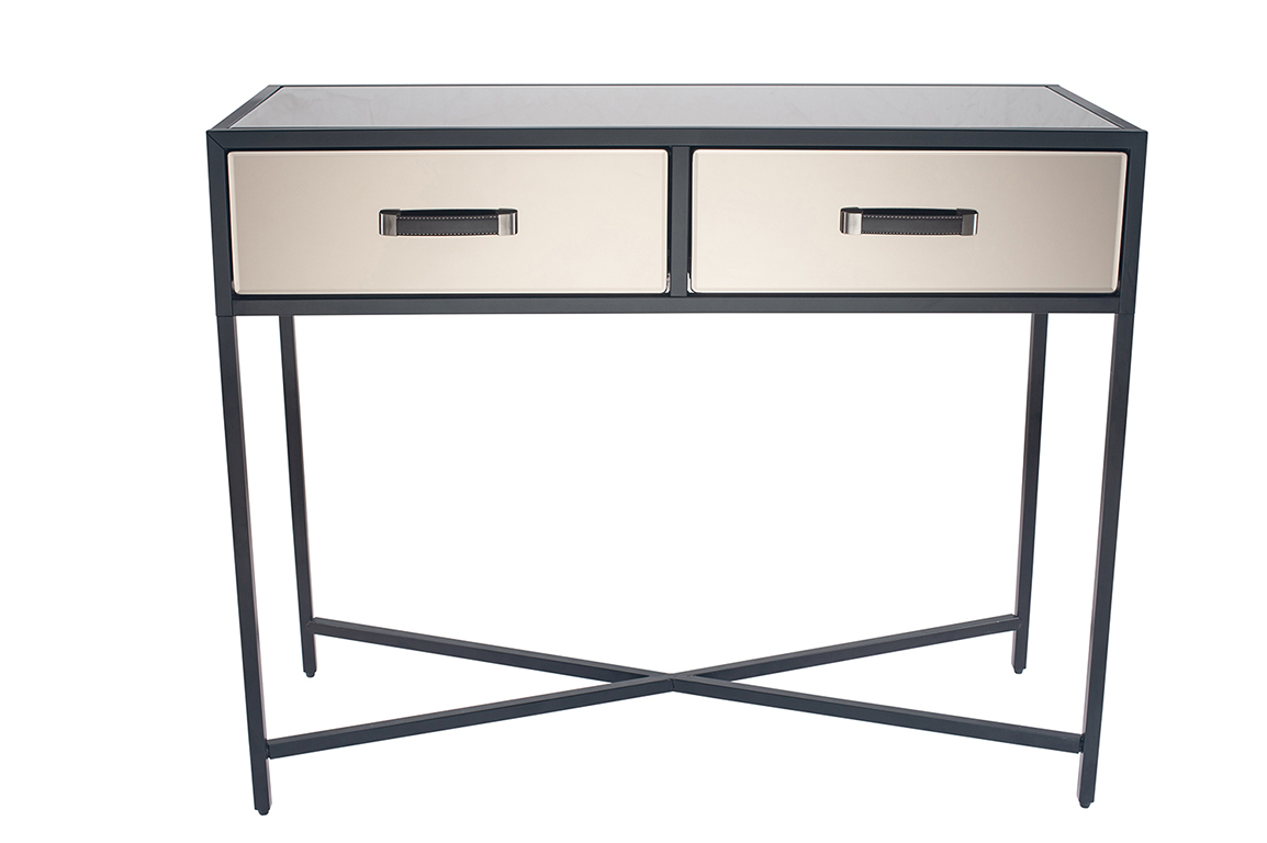 Picture of: Bronze Mirrored Glass Black Metal Console Table 79 024