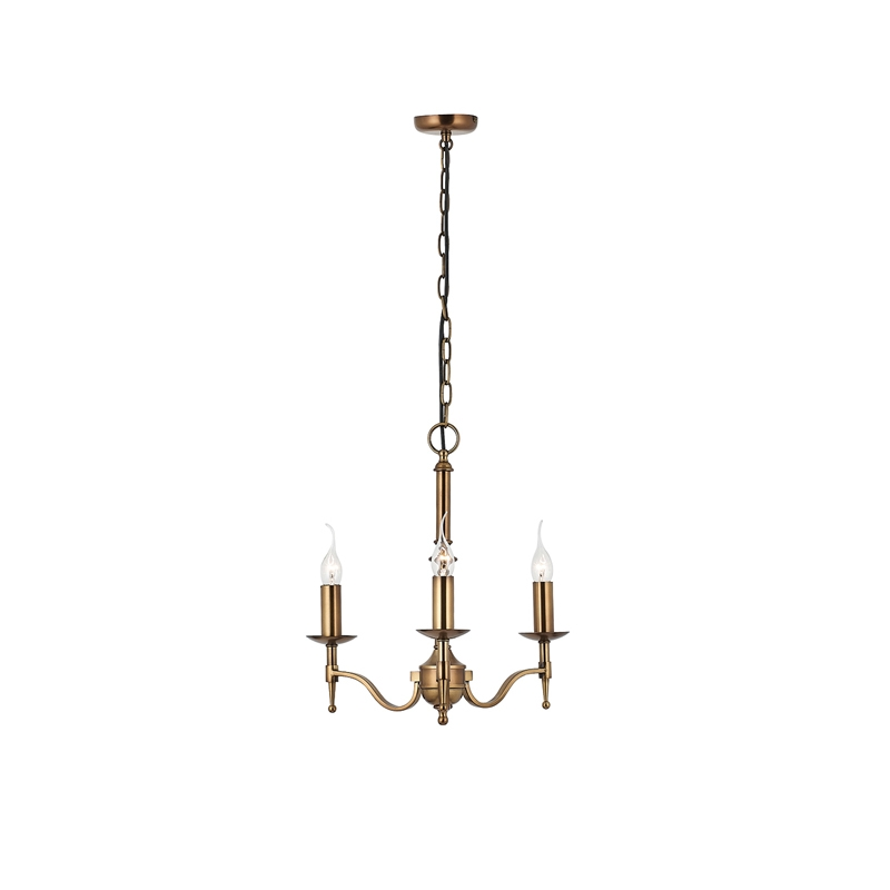 Stanford 3 arm chandelier in antique brass mozeypictures Images