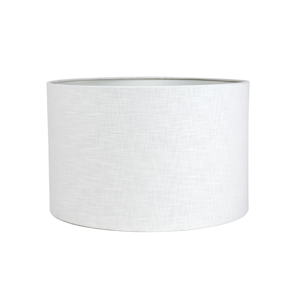 Ivory Double Lined Linen Drum Lampshade, Lamp Shade White Linen Drum