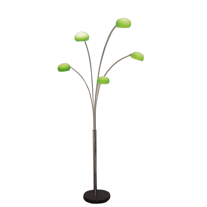 Lola floor lamp with 5 green shades