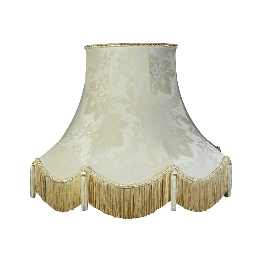 Traditional Vintage Period Standard Silk Lamp Shade In Ivory