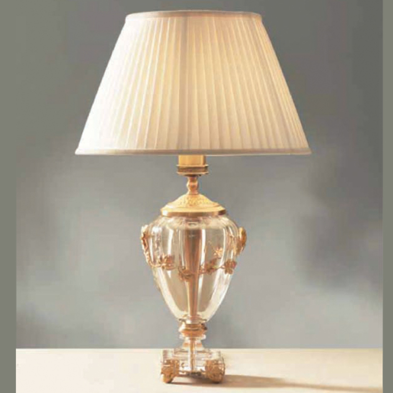 Italian crystal lamp with 24k gold leaf detail aloadofball Images
